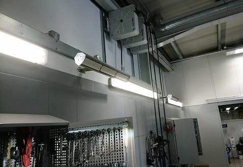 garage workshop space heated by Herschel