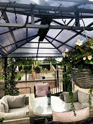 Herschel Manhattan heaters warming outdoor restaurant terrace